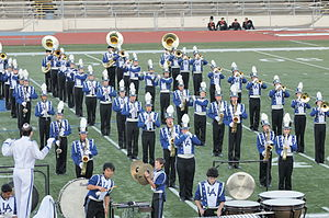 Los Altos High School (Los Altos, California) - The LAHS Marching Band, performing in uniform.