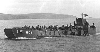 Landing craft tank - LCT-202 off the coast of England, 1944