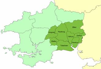 Cantref Gwarthaf (Dyfed) - Location of Cantref Gwarthaf and its commotes (dark green) in southwest Wales