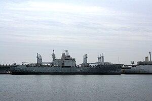 USS Mobile (LKA-115) - USS Mobile mothballed at Philadelphia NISMF, in January 2008.