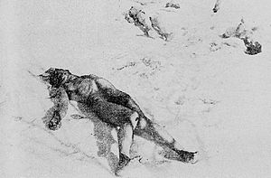 Legionnaires' rebellion and Bucharest pogrom - The stripped bodies of Jewish Romanian victims, discarded in the snow at Jilava, on the banks of Sabar River.