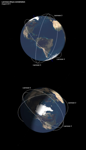 Lacrosse (satellite) - Constellation of the Lacrosse (Onyx) SAR satellites currently in orbit (August 2011)