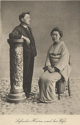 Lafcadio Hearn - Lafcadio Hearn, shown with Koizumi Setsu. Note the way he is facing—he always preferred to be photographed this way so that his left eye could not be seen.