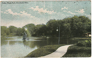 Wade Park (Cleveland park) - A 1914 postcard image of the lake at Wade Park in Cleveland, Ohio