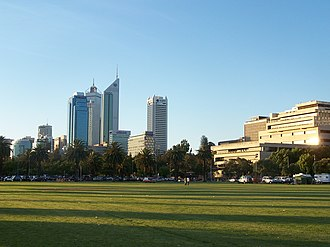 Langley Park (Western Australia) - Langley Park, looking across the western end towards the Perth CBD. The dominant building on the right is the Federal Law Courts, the gardens in front include Government House and Supreme Court Gardens.