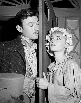 Diane Cilento - With Laurence Harvey in the television play The Small Servant. Both made their US television debuts in this production for The Alcoa Hour (1955).