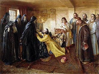 Pskov-Caves Monastery - Ivan the Terrible's repentance: he asks the hegumen (father superior) Cornelius of the Pskovo-Pechorsky Monastery to let him take the tonsure at his monastery. Painting by Klavdy Lebedev.