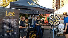 A Lee Jeans booth at a local 5k race in Kansas City.