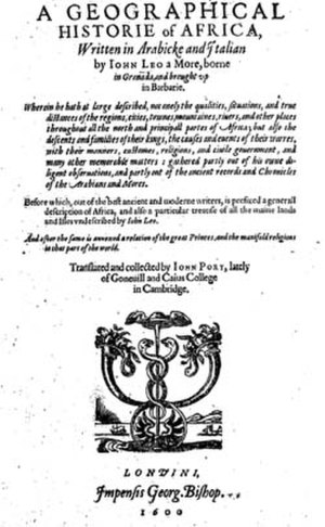Leo Africanus - The title page of the 1600 English edition of Leo Africanus's book on Africa.