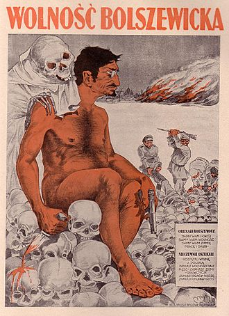 "Polish–Soviet War - ""Bolshevik freedom"" – Polish propaganda poster with nude, anti-semitic caricature of Leon Trotsky"