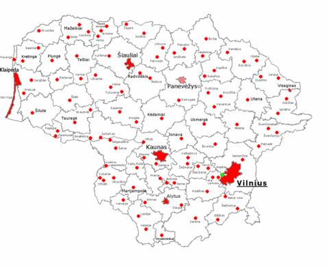 Списък на градовете в литва