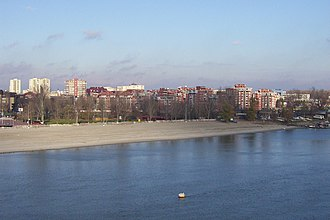 Liman, Novi Sad - Liman I and Štrand beach, view from Liberty Bridge
