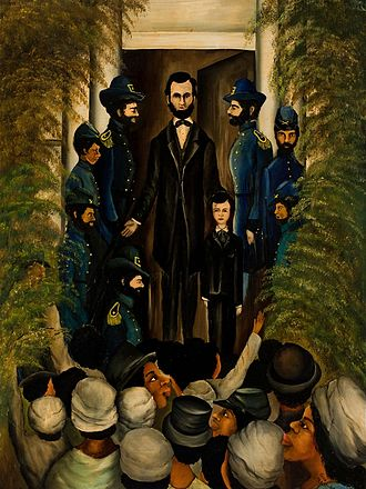 "Emancipation Proclamation - ""Lincoln Speaks to Freedmen on the Steps of the Capital at Richmond"""