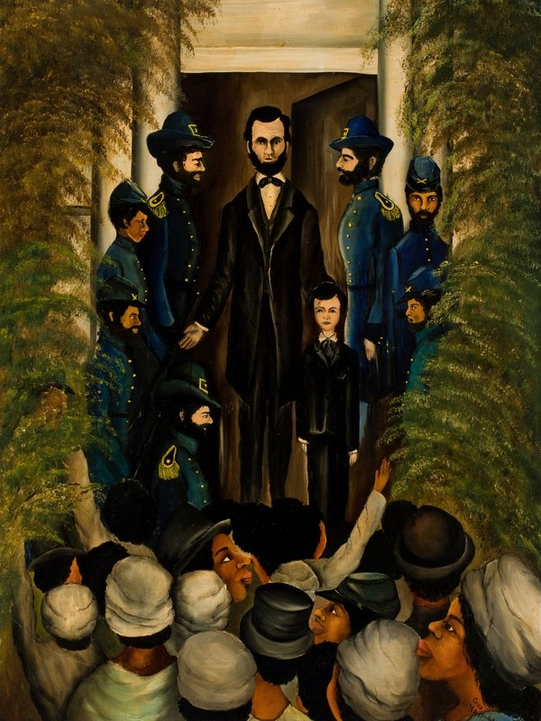 Lincoln Speaks to Freedmen on the Steps of the Capital at Richmond