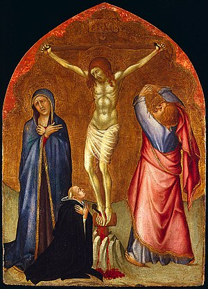Crucifixion with the Virgin, Saint John the Evangelist and a Clerical Donor