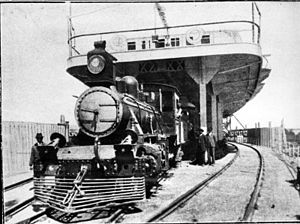 General Urquiza Railway - Steam locomotive unloading from a Paraná River train ferry (c.1920).