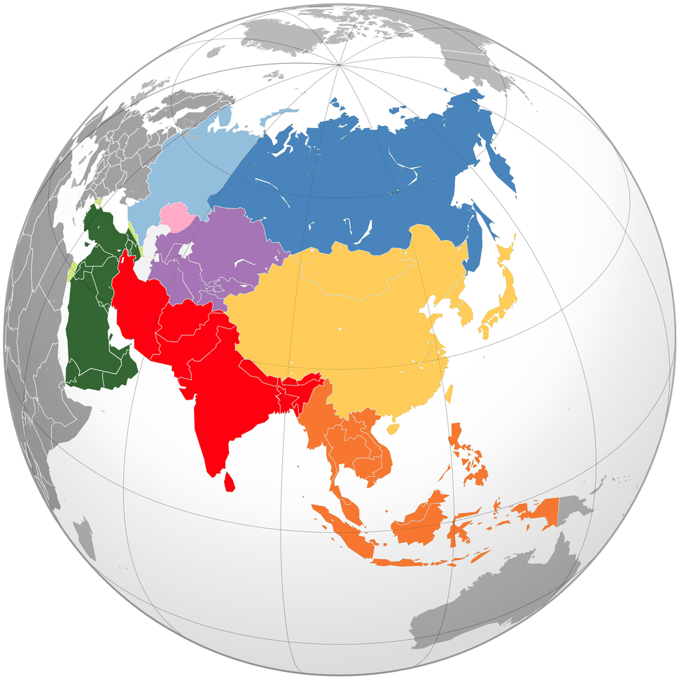 Location-Asia-UNsubregions orthographic projection