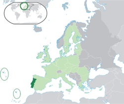 Location of  പോർച്ചുഗൽ  (dark green) – on the European continent  (light green & dark grey) – in the European Union  (light green)  —  [Legend]