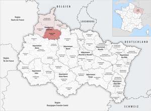 Arrondissement of Vouziers - Image: Locator map of Arrondissement Vouziers 2017