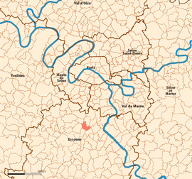 Location (in reid) within Paris inner an ooter suburbs