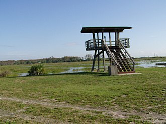 Loxahatchee National Wildlife Refuge - Observation Platform overlooking the C-7 compartment on the Marsh Trail