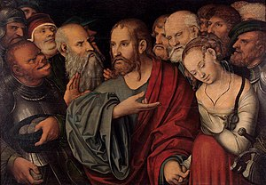Katerina Belkina - Lucas Cranach d. J. - Christ and the Woman Taken in Adultery served as a model for The Sinner.