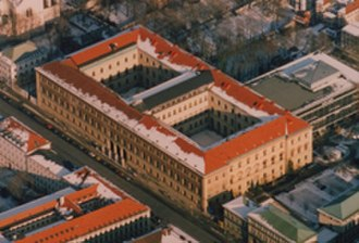 Bavarian State Library - Aerial view of the Bayerische Staatsbibliothek