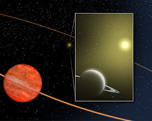 54 Piscium b - An artist's impression of the brown dwarf (54 Piscium B) and the planet closer to its sun (54 Piscium b).