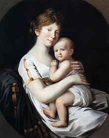 Kronprinzessin Luise von Preußen mit Friedrich Wilhelm, Porträt von 1796, Johann Heinrich Schröder (Quelle: Wikimedia)