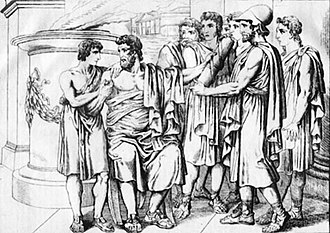 Lycurgus of Sparta - Lycurgus gives his laws to the people before his death.