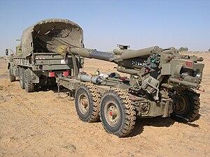 Soltam M-71 - The Soltam M-71 in travel/towing configuration