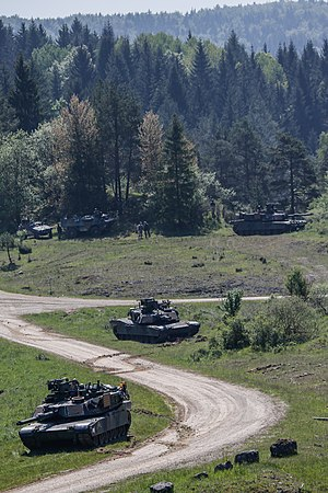 Armoured warfare - Modern American and French armoured vehicles during an exercise