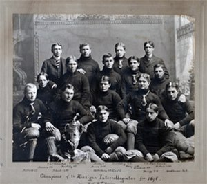 Charles Hall (American football) - 1898 Kalamazoo football team, MIAA champions; Hall is standing on the back row on the far right