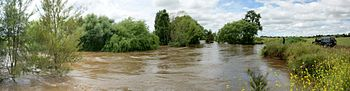 Macquarie River in flood at Bathurst.