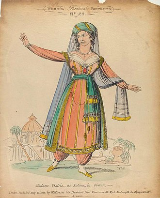 Oberon (Weber) - Madame Vestris as Fatima, 1826 etching ((NYPL - Billy Rose Theatre Division)
