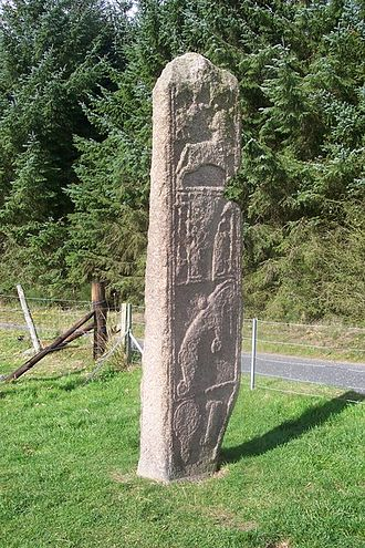 Pictish stone - East face of Class II Maiden Stone