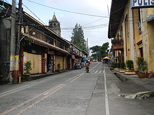 Majayjay - Poblacion with town hall on right, public market on left, and St. Gregory church in the background.