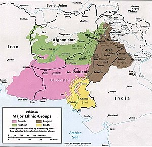 Balochistan, Afghanistan - Major ethnic groups in Pakistan and surrounding areas in 1980 with the Baloch shown in pink