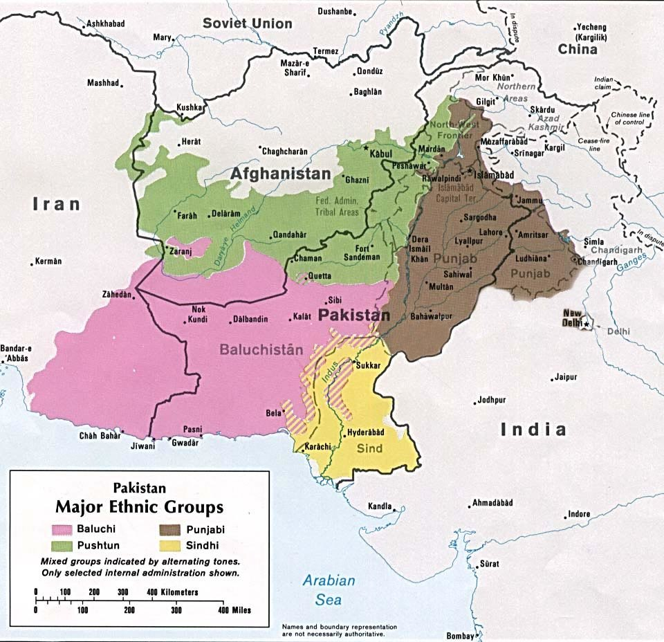 Major ethnic groups of Pakistan in 1980 borders removed