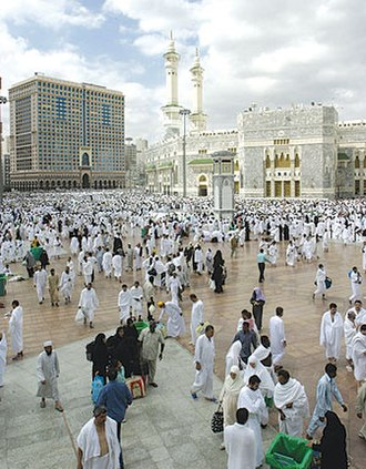 Religious tourism - Center of Mecca city, Saudi Arabia. In the background: the Great Mosque.