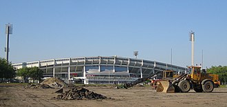 Swedbank Stadion - The building site of the stadium in June 2007 with Malmö Stadion in the background