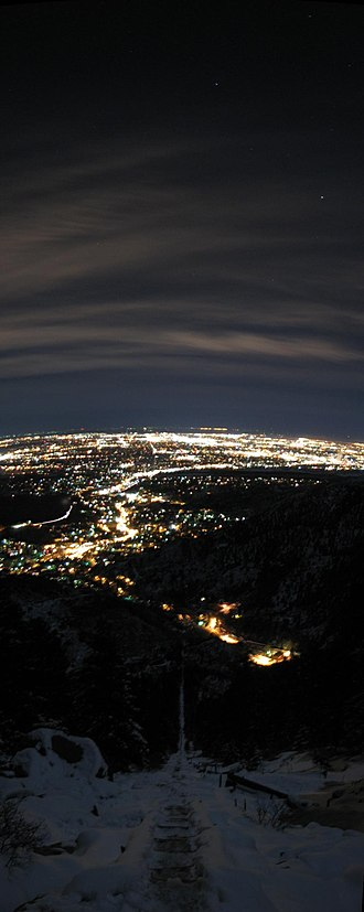 Manitou and Pike's Peak Railway - Night-time panorama of Colorado Springs as viewed from the Manitou Incline.