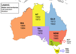 Capital punishment in Australia - Map featuring the year of the last execution and the year of abolition