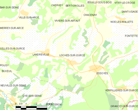Mapa obce Loches-sur-Ource