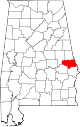 Map of Alabama highlighting Lee County.svg