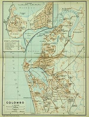Map of Colombo (Baedeker, 1914)