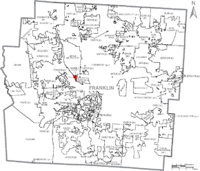 Map of Franklin County Ohio With Marble Cliff labeled.png