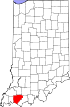 State map highlighting Warrick County