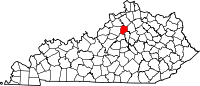 Map of Kentucky highlighting Franklin County