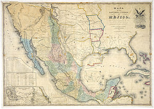Mapa de Méjico 1847, showing the alternative d...